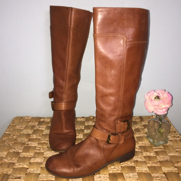 db590d65e58 Nine West Cognac leather Shiza riding boot. M 5a80b6f7a6e3ea0983d20354